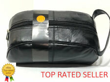Women Men Genuine Leather Black Dopp Shaving Kit Travel Toiletry Grooming Bag