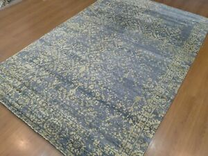 6'x9' Rug | Modern Luxury  Hand Knotted Wool & Bamboo Silk Gray Gold Area Rug