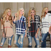Womens Blouse Striped Plaid Long Sleeve Fitted Ladies T-Shirt Loose Casual Tops