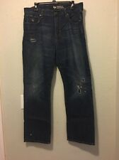 Gap Men's Jeans Dark Distressed Wash Straight Fit Sz 36/32  (c7)