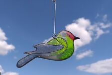 Goldfinch Bird Suncatcher Stained Glass Effect Sun Catcher Hand Made Green