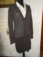 Pull boutons gilet  long manteau coton/cachemire ESPRIT L/ 38/40 marron ajouré
