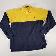 VTG POLO RALPH LAUREN Navy Yellow Colorblock Rugby Shirt XL Green Pony LS 90s