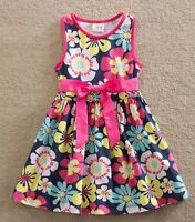Girls Navy Pink Summer Dress - Age 3 4 5 6 7 Kids New Floral Bow Party Clothes