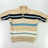VTG Damon Men's Knit S/S Polo Shirt Tan/Blue Stripe Rockabilly Mad Men • MEDIUM