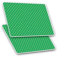 2 x Rectangle Stickers 7.5cm  - Green White Polka Dot Pattern Print  #45238