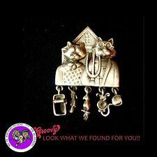 """""""JJ"""" Jonette Jewelry SILVER Pewter 'AMERICAN CAT KITTEN ' Pin Brooch MADE USA"""