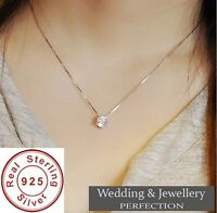 925 Sterling Silver Necklace Crystal Rhinestone Pendant Women Wedding Jewelry