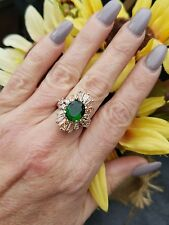 Kelly Green Emerald & Morganite Sparkling Cluster Ring, Sterling Silver, Size 7