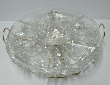 Vintage Clear Glass LAZY SUSAN w/6 Trays & Bowl Inserts, Atomic Metal Swivel