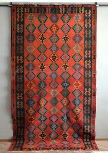 "Vintage Caucasian Shirvan Kilim Rug nomad tribal carpet 5'9"" x 8'4"", 174x326cm"