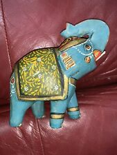 Hand Painted Lacquered Wood Elephant Statue Figurine Turquoise Trunk Up