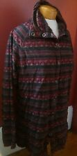 Ladies Woolrich Wine and Multi Colored Snap Up Cotton Blouse Size Large