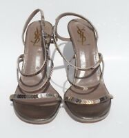 YVES SAINT LAURENT Taupe Silk Rayon Metallic Sequin Strappy Sandals Pumps 39.5