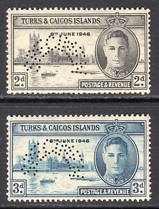 TURKS AND CAICOS ISLANDS 1937 KGVI Victory SPECIMEN set, SG 206s,207s cat £80