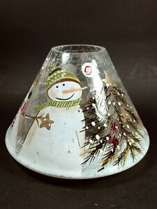 Hallmark Crackle Glass Snowman Candle Jar Shade
