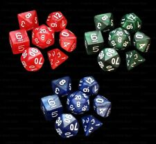 3 NEW Sets of 7 Polyhedral Dice - Blue Red Green Marble  - 3 Dice Bags RPG
