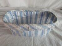LONGABERGER Candle Basket Liner Vintage Ticking Blue White Stripe Stand Up Edge