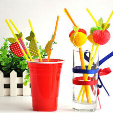 50PCS Colorful 3D Fruit Cocktail Party Wedding KTV Drink Straws Party Decor