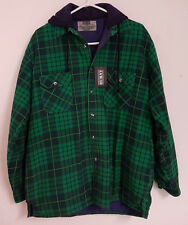 Burnt Brand Flannel Shirt/Jacket with Quilted Lining and Hood. New with Tags