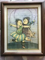 J. Roybal Original Oil Painting 2 Girls Jumping Rope, Signed, Framed