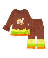 Royal Gem Thanksgiving Orange & Brown Ruffle Turkey Top & Leggings  Girls Sz 5/7
