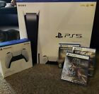 Sony PlayStation 5 Console Disc Version PS5 Bundle W/ 3 Games + extra conrtoller