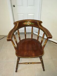 Vintage Antique Chair Dark Oakwood With Legs And Arm Rest