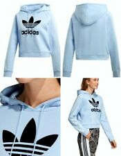 adidas Cropped Hoodie Ribbed Sleeves Periwinkle Blue Cotton Women's Med Du9874
