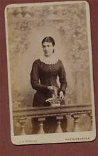Hastings. J W Thomas. Lady basket flowers   CDV photograph   qb.661