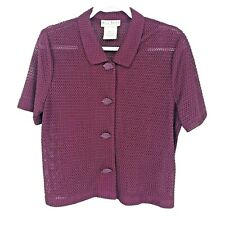 Miss Dorby Button Up Sheer Blouse Top Short Sleeve Wine Purple Women's Size 12