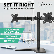 Artiss Dual Monitor Stand Arm HD LED TV Freestanding Mount Holder 2 Arm Display