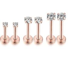2x Surgical Titanium Steel Ear Stud Labret Piercing Rose Gold Helix Nose Rings