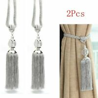 2PCS Curtain Tie Backs Rope Hold Backs Tassel Tiebacks Silver Crystal Ball Decor