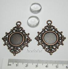 2 copper setting tray pendant frame blanks 14 mm round with matching glass domes