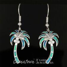 Palm Tree Ocean Blue Fire Opal Inlay CZ Silver Jewelry Dangle Drop Earrings