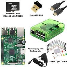 Raspberry Pi 3 Model B Noobs Traffic Light Starter Kit + Green Case + HDMI