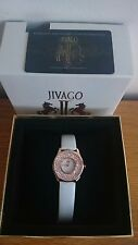 NEW JIVAGO Brilliance (JV3413) Rose Gold White Leather Strap Watch