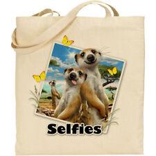 Meerkat Howard Robinson Fun Selfie Image Reusable Cotton Shopping/Tote/Beach Bag