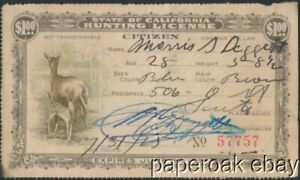 1926 California State Hunting License