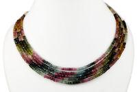 Natural 2/3/4/5 Multi Strands Multi Tourmaline 4mm Facet Beads Necklace Gemstone