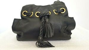 KOOBA Ladies Designer Medium Black Leather Tassel Accent Shoulder Bag GRT