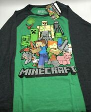 Minecraft Long Sleeve Graphic Tee Green and Gray Brand New $22 Value