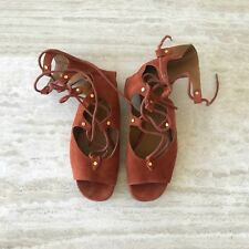 638e43fed7ee Chloe Lettonia rust brown suede lace-up flat sandals size 36 US 6 runway