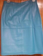 Turquoise Leather Skirt by Newport News, Size 10, Pre-Owned