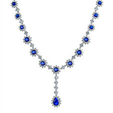Bling Jewelry Rhodium Plated Crown Set Simulated Sapphire Necklace 16 Inches