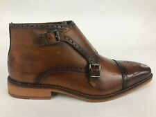 La Milano Luciano Leather Double Monk Strap Burnished Tan Ankle Boots B51924
