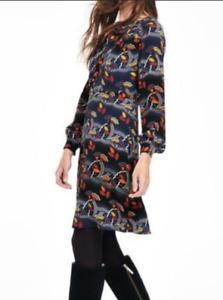 Boden Size 8 R Dress A Line Long Sleeve Floral Print Navy Necktie