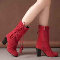 Women Lace-up Tassel Mid Calf Boots Block High Heels Round Toe Shoes Side Zipper
