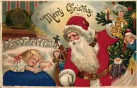 ~SILK~Santa Claus with  Sleeping Girl~Doll~Tree~Antique~Christmas Postcard--s830